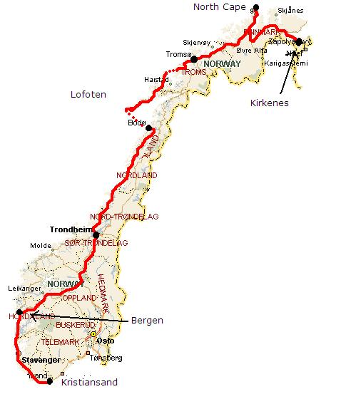 Route of my Norway tour