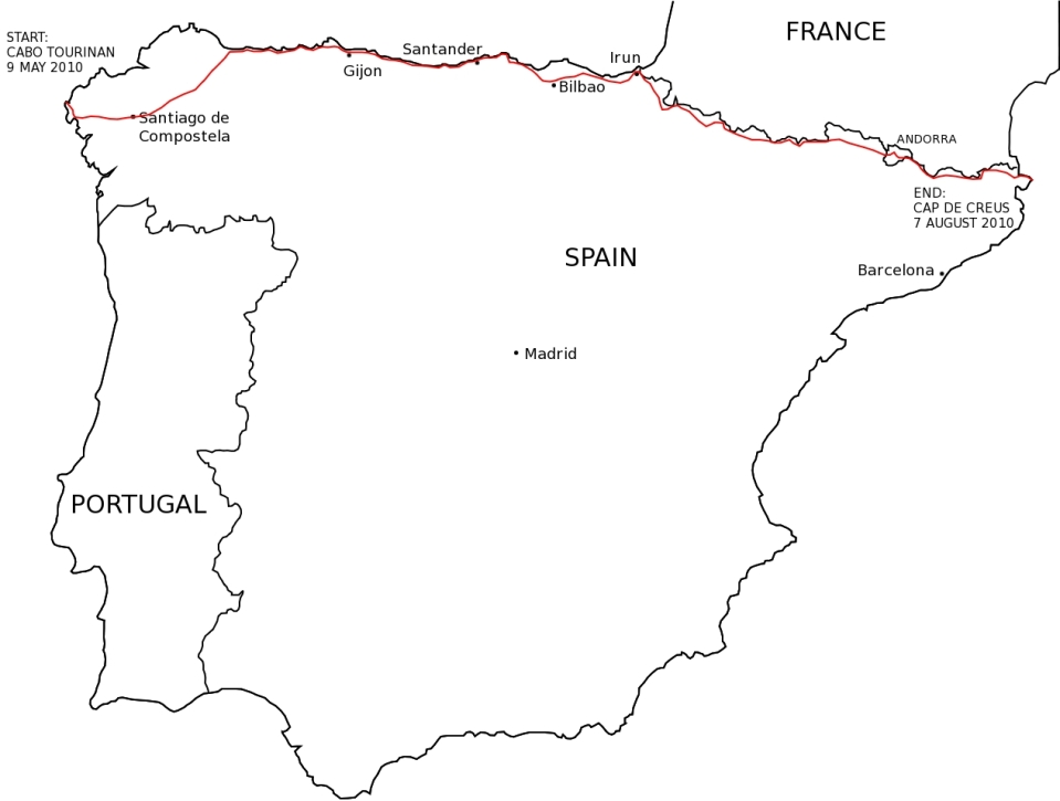 Map of my route across Spain