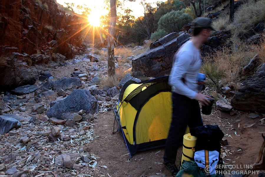 Spectacular wild camp in Waterfall Gorge, Larapinta Trail, Australia