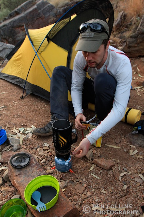 Cooking on the camp stove, Larapinta Trail, Australia