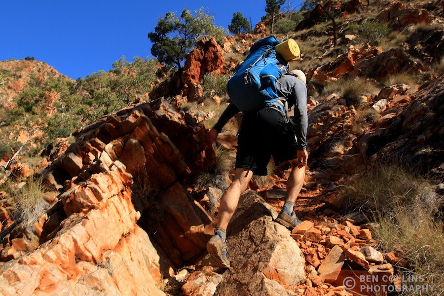 Climbing steeply out of Standley Chasm, Larapinta Trail, Australia