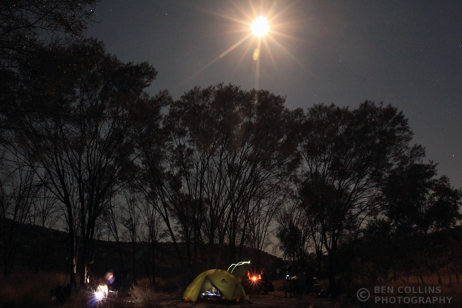 Moonlit Mulga Campsite, Larapinta Trail, West MacDonnell National Park, Australia