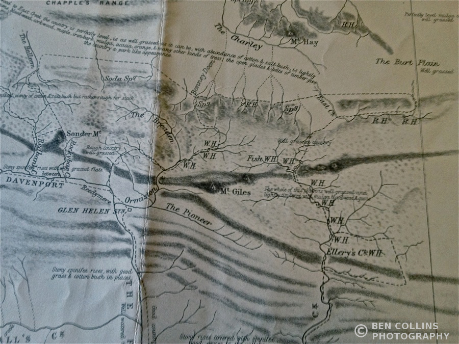 Old facsimile map showing the area where the modern-day Larapinta Trail runs