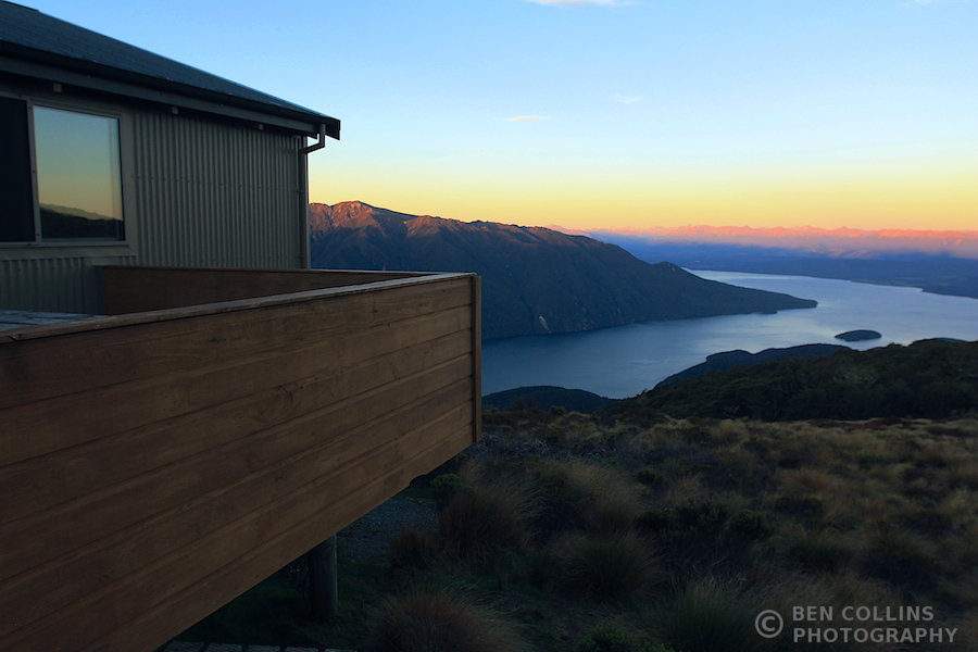 Sunset from the Luxmore Hut looking out over Lake Te Anau