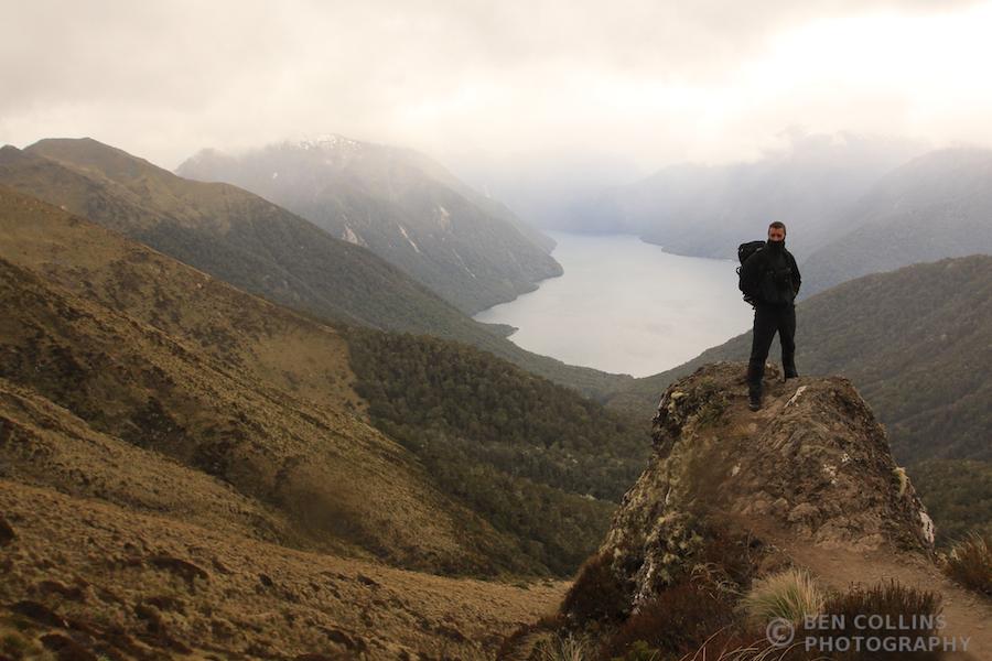 Pete above the South Arm of Lake Te Anau