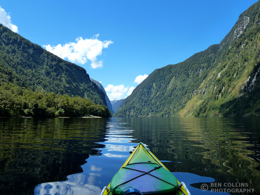 Paddling down Halls Arm, Doubtful Sound