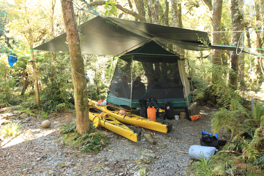 Mess tent, camp in the rainforest
