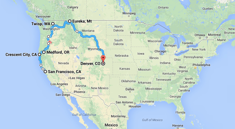 Approximate route of our tour around the mountainous W of the US