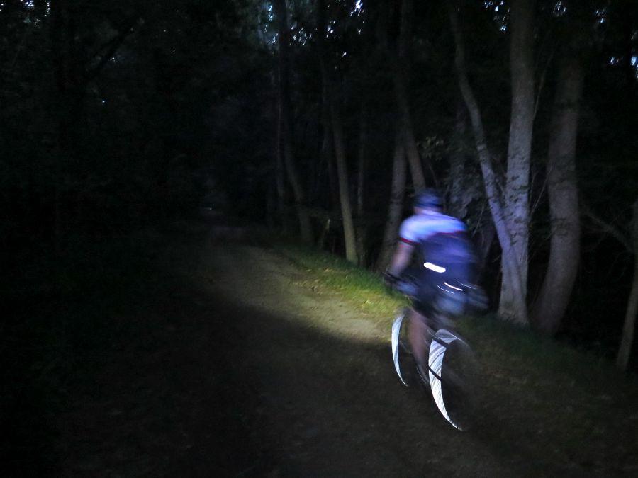Pete cruising along the C&O at night
