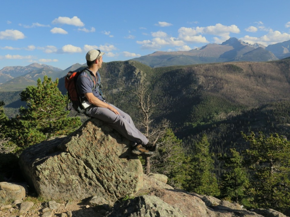 Steven looking out towards Longs Peak