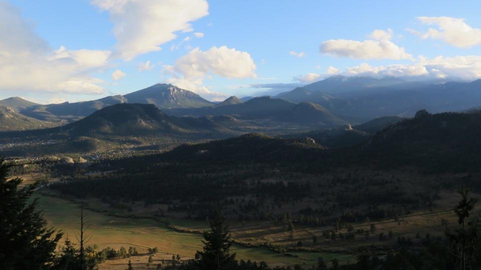 Evening light over the mountains near Estes Park