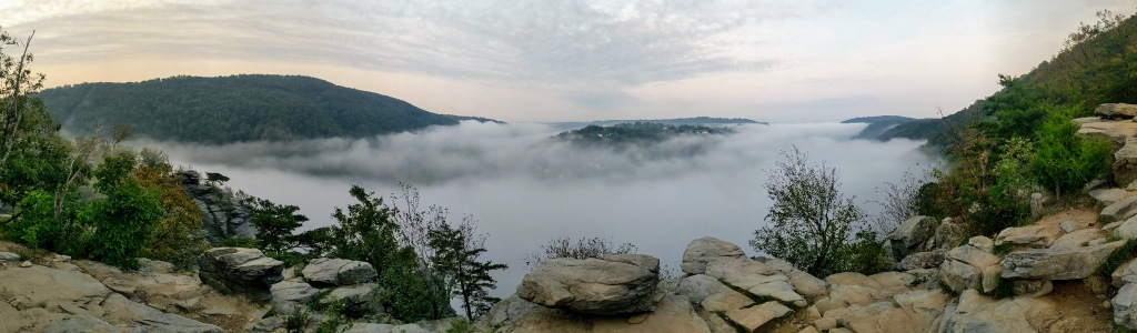 Cloud inversion from Maryland Heights showing Harpers Ferry